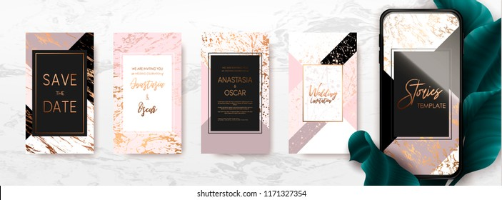 Editable template pack with gold and marble texture. Trendy kit, social and fashion ads, promotion flyer backgrounds, vector design.