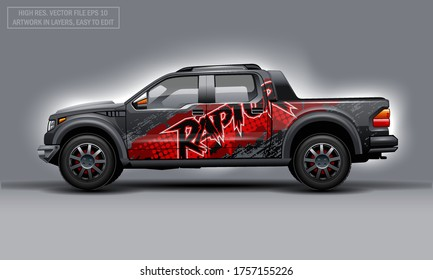 Editable template for wrap SUV with abstract Raptor text decal. Hi-res vector graphics.