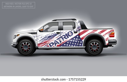 Editable template for wrap SUV with USA flag decal. Hi-res vector graphics.