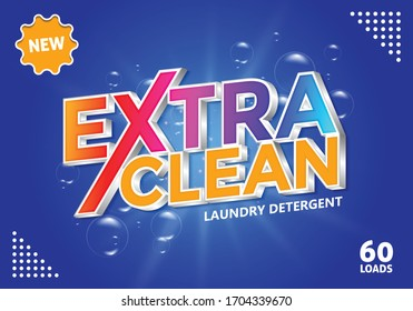 Editable Text Effect Extra Clean Laundry Detergen with 3D design. yellow and blue color