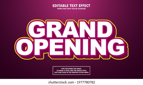 Editable text effect style grand opening