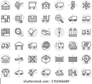 Editable thin line isolated vector icon set - box, delivery, cargo stoller, warehouse, shipping, loading crane, package, trolley, top sign, do not hook, courier, parachute, fast deliver, handwheel