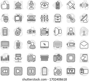 Editable thin line isolated vector icon set - tv, goverment house, remote control, connect vector, wireless mouse, projector, share, touch, satellite antenna, film frame, music hit, radio, speaker