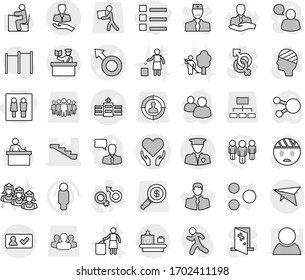 Editable thin line isolated vector icon set - wc, list, male sign vector, hospital, health care, stairs, client, security man, deltaplane, check in, baggage checking, inspector, garden cleaning, run