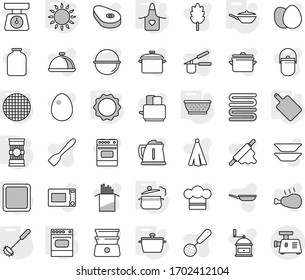 Editable thin line isolated vector icon set - pan, steam, colander, apron, cutting board, whisk, gas oven, induction, sieve, pasta, vector, camping cauldron, kettle, scales, cook hat, towel, press