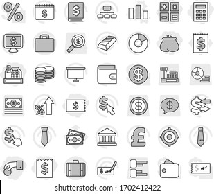 Editable thin line isolated vector icon set - hand coin, receipt, purse, cashbox, calculator, suitcase, chart vector, bank, exchange, gold ingot, pie graph, wallet, percent growth, stack, check, tie