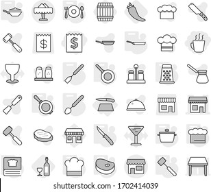 Editable thin line isolated vector icon set - receipt, hot drink, shop, restaurant, cutting board, pan, cook hat, chief, spatula, big spoon, knife, meat hammer, cooking book, fork plate, grater