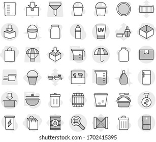 Editable thin line isolated vector icon set - shopping bag, box, tools, package, dry cargo, chemical, search, uv cream, bucket, cauldron, measuring cup, barrel, vector, trash bin, cleanser, sieve
