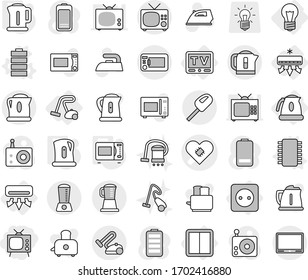 Editable thin line isolated vector icon set - tv, pacemaker vector, bulb, air conditioning, power socket, switch, kettle, vacuum cleaner, chip, battery, microwave oven, iron, toaster, radio, blender