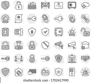 Editable thin line isolated vector icon set - lock, unlock, protected, alarm, security man, vip fence, detector, baggage checking, key, safe, intercome, surveillance camera, vector, shield, siren
