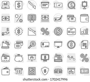 Editable thin line isolated vector icon set - dollar coin, receipt, account balance, cashbox, atm, presentation, money, invoice, credit card, vector, graph, laptop, wallet, crisis, check, board