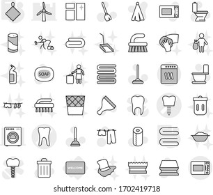 Editable thin line isolated vector icon set - tooth vector, implant, welcome mat, rag, towel, soap, plunger, scraper, broom, fetlock, mop, sponge, trash bin, window cleaning, toilet, drying clothes