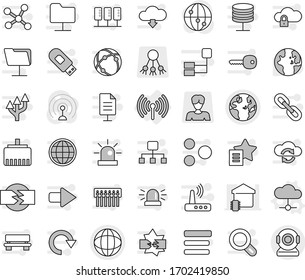 Editable thin line isolated vector icon set - globe, wireless, cloud vector, world, share, woman, antenna, internet, connection, network, server, disconnection, folder, exchange, lock, menu, hub