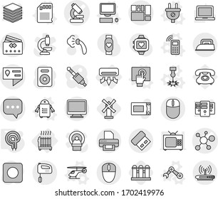 Editable thin line isolated vector icon set - microscope vector, virus, location details, sms, consolidated cargo, credit card, air conditioning, radiator, plug, laser, helicopter, mobile phone, sd