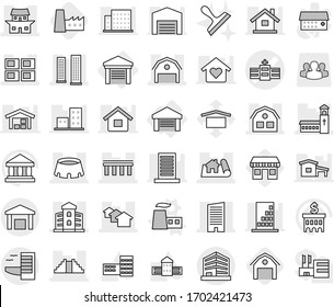Editable thin line isolated vector icon set - hospital vector, bridge, project, skyscrapers, skyscraper, church, houses, panel house, building, barn, pyramid, japanese, stadium, office, warehouse