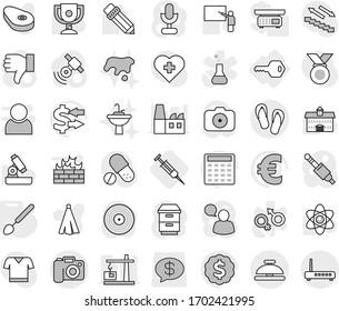 Editable thin line isolated vector icon set - camera, flip flops, service bell, key, big spoon, syringe, spot, water tap sink, towel vector, steak, university, pencil, blackboard, atom, microscope
