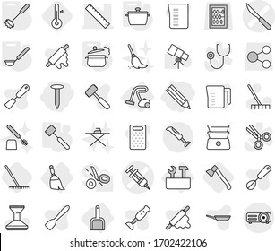 Editable thin line isolated vector icon set - pencil, nail, syringe vector, scalpel, ruler, broom, scoop, repair tools, vacuum cleaner, pan, steam, whisk, ladle, meat hammer, rake, axe, thermometer