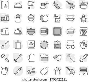 Editable thin line isolated vector icon set - cutting board, cauldron, pan, steam, chief hat, garlic clasp, whisk, meat hammer, food processor, hot pepper, apron, kettle vector, scales, cook glove