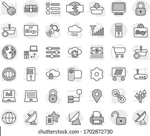 Editable thin line isolated vector icon set - lock, unlock, delivery, globe, money, invoice, satellite antenna, cloud service vector, data transfer, printer, signal, notebook pc, world, cart, link