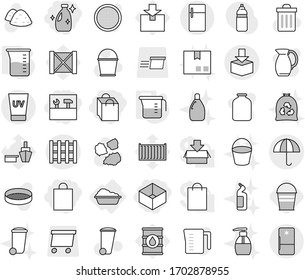 Editable thin line isolated vector icon set - shopping bag, box, tools, cleanser, dry cargo, package, pallet, uv cream, washing, measuring cup, bucket, vector, trash bin, garbage pile, liquid soap