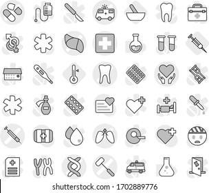 Editable thin line isolated vector icon set - medical cross vector, dna, pill, ambulance car, tooth, lungs, liver, health care, doctors hammer, syringe, mortar, thermometer, flask, heart monitor