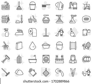 Editable thin line isolated vector icon set - broom, rag, soap vector, plunger, scraper, cleaner trolley, vacuum, fetlock, mop, rake, bucket, clothespin, water drop, iron, steaming, bath, washer