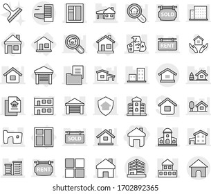 Editable thin line isolated vector icon set - home, cottage, mansion, slum, garage, modern architecture, house with, modular, window, building, district, office, hotel, hold vector, scraper, chalet