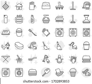 Editable thin line isolated vector icon set - iron, board, washing machine, broom, bucket, vacuum cleaner, plate, rag, vector, mop, sponge, car fetlock, powder, cleaning agent, rubber glove, wiping