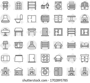 Editable thin line isolated vector icon set - door, arch window, plan, rack, restaurant, curtain, table, nightstand, chest of drawers, wardrobe, dresser, stool, chair, armchair, crib, fireplace, hob