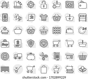 Editable thin line isolated vector icon set - add to cart, basket, delete, shopping list, bag, do not trolley sign, pallet, vector, gift, dollar coin, wallet, 24 hour, market, target, buy, barcode
