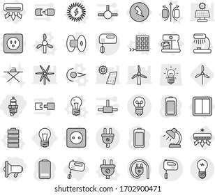 Editable thin line isolated vector icon set - megafon, spark plug, bulb, air conditioning, electricity, power socket, switch, mixer, coffee maker, photon vector, magnetic field, coil, windmill