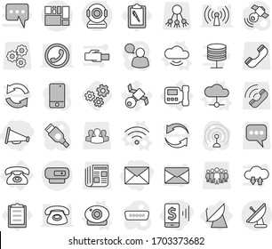 Editable thin line isolated vector icon set - mobile pay, loudspeaker, mail, consolidated cargo, intercome, phone, satellite antenna, cloud vector, service, web camera, wireless, gears, clipboard