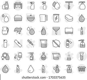 Editable thin line isolated vector icon set - test vial vector, blood drop, potion bottle, level, corkscrew, cauldron, measuring cup, sponge, water, splotch, liquid soap, sprayer, cleaning agent