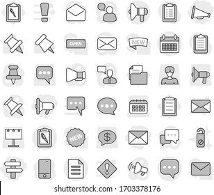 Editable thin line isolated vector icon set - megafon, loudspeaker, singlepost, mail, sms, calendar, clipboard pen, document, do not distrub, paper pin vector, billboard, woman, message, money, new