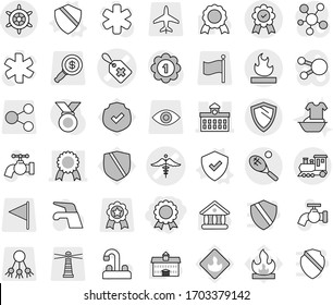 Editable thin line isolated vector icon set - medal, medical label vector, ambulance sign, university, flammable, train, tennis, shield, handwheel, water tap, handle washing, protected, lighthouse