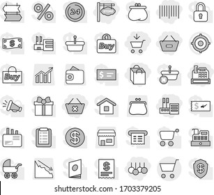 Editable thin line isolated vector icon set - add to cart, remove from basket, delete, store, shopping bag, sale, bar code, cashbox, signboard, target vector, shop, crisis, wallet, purse, diagram