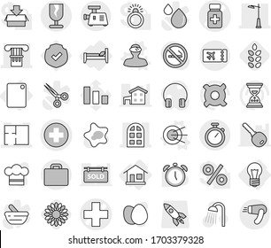 Editable thin line isolated vector icon set - medical cross vector, pills bottle, column, arch window, plan, outdoor light, fragile, stopwatch, suitcase, ticket, home, bulb, bed, cutting board, egg