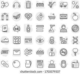 Editable thin line isolated vector icon set - sale, eye vector, apple, doctor, leafs, bridge, architector, arch, trip, dna, lock, hob, oven, ketchup, seedling, plunger, welcome mat, bath, jug, card