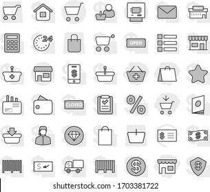 Editable thin line isolated vector icon set - add to cart, basket, shop, shopping bag, atm, receipt vector, dollar coin, wallet, cash, star, open, closed, 24 hour, percent, store, mall, customer