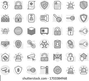 Editable thin line isolated vector icon set - biohazard vector, lighthouse, lock, unlock, customs, protected, surveillance, key, identity card, shield, locked, intercome, alarm, camera, siren, safe