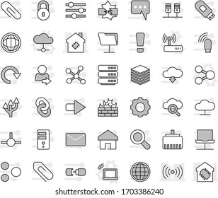 Editable thin line isolated vector icon set - smart house, share vector, laptop wifi, cloud, router, world, connect, network, server, notebook, disconnection, folder, glass, big data, gear, firewall