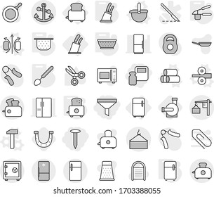 Editable thin line isolated vector icon set - scales weight, funnel, nail, loading, crane, anchor, safe, fridge, toaster, stands for knives, magnetic field vector, ladle, pipes, metal rolling, pan