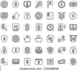 Editable thin line isolated vector icon set - hand coin, dollar, money, account balance, receipt, mobile pay, atm, vector, cash, bag, piggy bank, investment, growth, medal, flag, shield, calendar