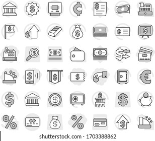 Editable thin line isolated vector icon set - hand coin, receipt, mobile pay, credit card, percent, cashbox, atm, bank vector, exchange, gold ingot, cash, money bag, piggy, dollar growth, building