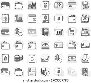 Editable thin line isolated vector icon set - credit card, receipt, account balance, wallet, cashbox, vector, coin stack, check, dollar cursor, purse, money, gift, reader, tap pay