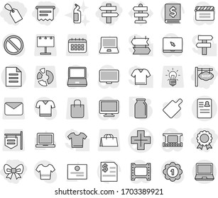 Editable thin line isolated vector icon set - bow, label, atm receipt, medal, shop signboard, singlepost, anamnesis vector, cross, document, bank, toilet cleanser, cutting board, notebook pc, bulb