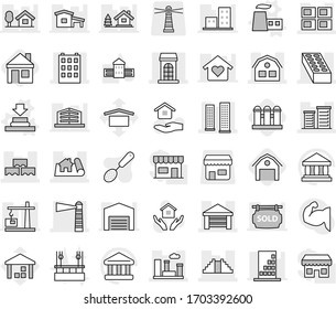 Editable thin line isolated vector icon set - project, building, skyscrapers, lighthouse, garage, panel house, block wall, brick, district, pyramid, city, factory vector, press, barn, grain elevator