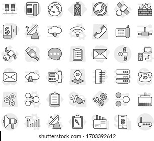 Editable thin line isolated vector icon set - mobile pay, mail, satellite, loudspeaker, remote control, intercome, share vector, antenna, data transfer, wireless, signal, gears, phone, clipboard