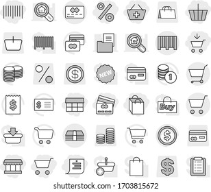 Editable thin line isolated vector icon set - cart, add to, basket, credit card, market, shopping list, bag, percent, bar code, money, dollar coin vector, stack, receipt, estate document, search