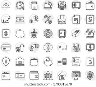 Editable thin line isolated vector icon set - hand coin, credit card, receipt, account balance, percent, cashbox, building, school vector, bank, dollar, gold ingot, wallet, growth, piggy, investment